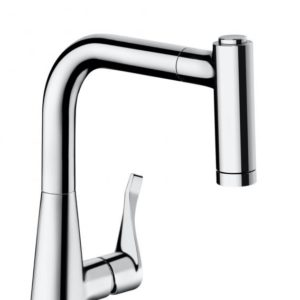 Hansgrohe Metris single lever kitchen mixer 220 with pull-out spray chrome (14834000)