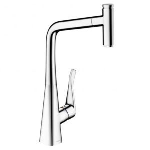 Hansgrohe Metris Select single lever kitchen mixer 320 with pull-out spout chrome (14884000)