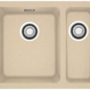Franke Kubus KBG 160 undermount sink with pull-button for waste valve beige